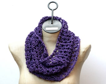 Ready to Ship: Basic Cotton Lace Cowl - Hand Knit Scarf - Cotton Scarf - Lace Scarf - Spring Scarf - Purple Scarf - Infinity Scarf