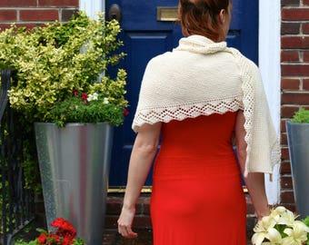 Ready to Ship: The Alpine Shawl - Hand Knit Shawl - Merino Shawl - Lace Shawl - Wedding Shawl - Ivory Shawl - Ecru Shawl - Amy LaRoux
