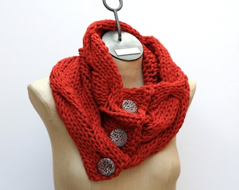 Ready to Ship Grande Button Cable Scarf - Hand Knit Scarf - Merino Scarf - Wool Neck Warmer - Infinity Scarf - Orange Scarf - Oversize Scarf