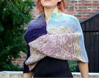 The Twilight Shawl ~ Hand Knit Merino Wool Silk Cotton Infinity Wrap Oversized Cowl Women's Fashion Multicolor Stripe Cream Blue Purple Pink