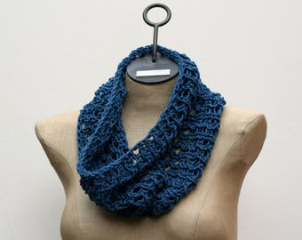 Ready to Ship Basic Cotton Lace Cowl - Hand Knit Scarf - Cotton Scarf - Lace Scarf - Blue Scarf - Spring Scarf - Infinity Scarf - Amy LaRoux