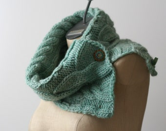 Ready to Ship: Cabled Roving Cowl - Hand Knit Scarf - Wool Scarf - Blue Scarf - Neck Warmer - Infinity Scarf - Winter Scarf - Button Cowl