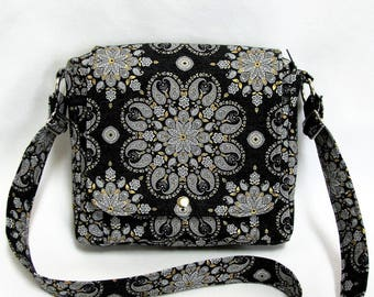 Small messenger- Black, grey, white, gold and silver paisley medallion print cotton