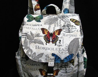 Large Backpack- Butterfly and botanical print canvas