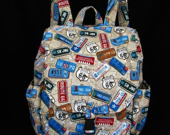 Large backpack- Route 66 theme cotton
