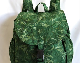 ffe2b82d263 Large Backpack- Green leaf pattern batik cotton
