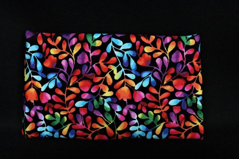 Large Pouch Rainbow leaf print cotton