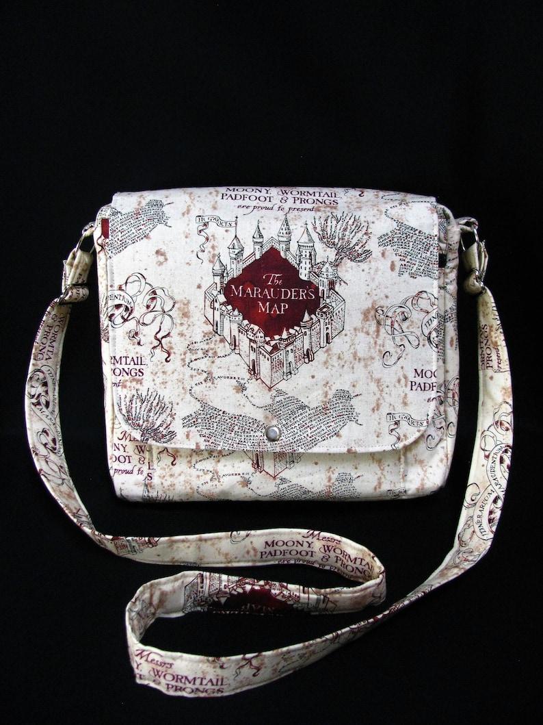 Large messenger bag- Harry Potter Marauder's Map cotton