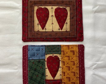 Set of 2 Primitive Heart Hearts Valentines Mug Rug Coaster Coffee Sleeve Gift Set