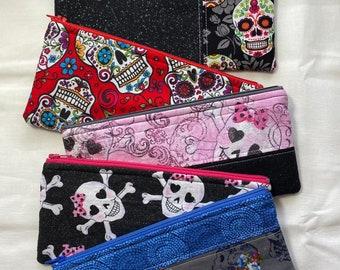 Skeleton Skull Sugar dias de los muertos Zip Bag Pencil Sunglasses Handmade Unique