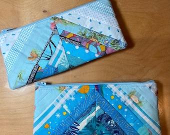 Aqua Tesl Blue String Quilted Patchwork Scrappy Zip Bag Pencil Sunglasses Handmade Unique