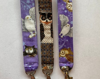 Owl Keychain Key Chain Unique One of a Kind Gift Fabric Washable Scrappy