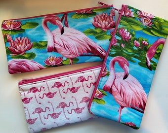 Flamingo Zip Bag Pencil Sunglasses Handmade Unique