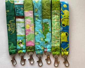 Frog Keychain Key Chain Key Fob Scrappy Unique One of a Kind Gift Fabric Washable