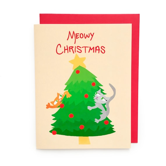 Meowy Christmas.Meowy Christmas Card Holiday Card Christmas Card Xmas Card Merry Christmas Cat Lady Cat Person Cat Card Cat Christmas