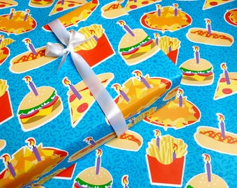birthday gift wrap | junk food birthday paper fun gift wrap cute gift wrap cute wrapping birthday wrapping pizza gift wrap burger and fries