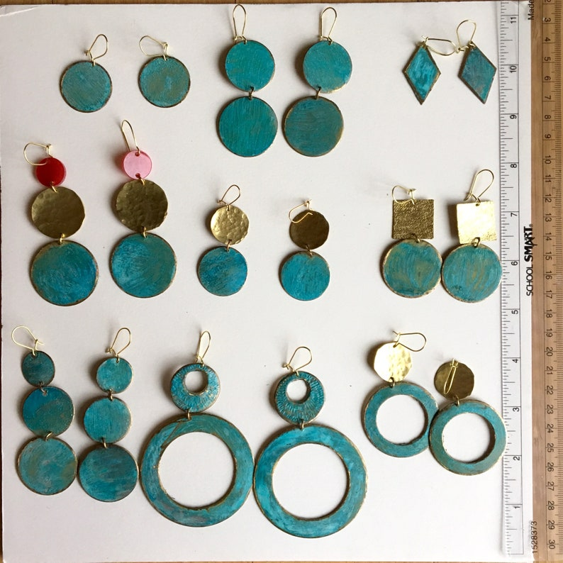 Great Xmas gift! Hand-made Double-Ring Bronze Patina Earrings