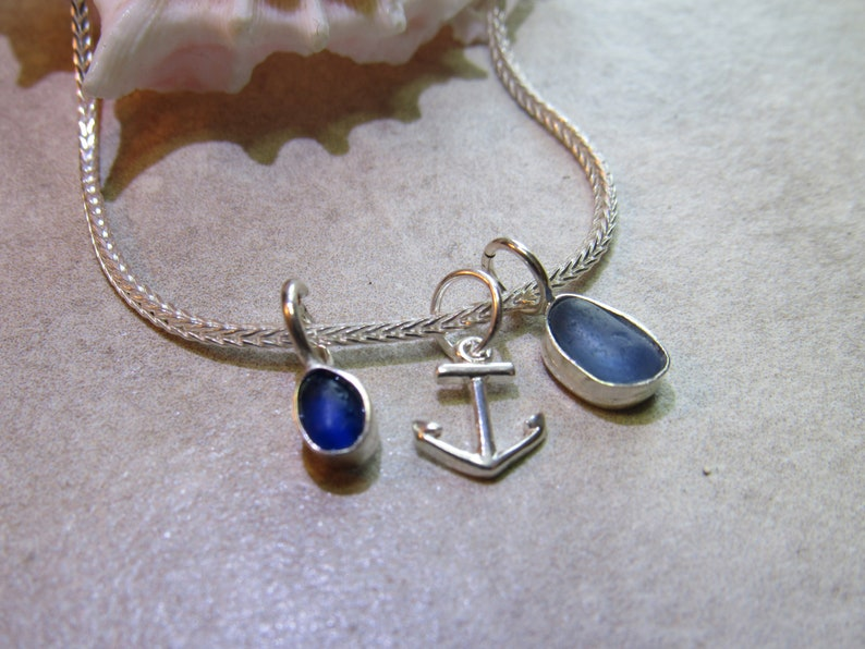 Beach Glass and Anchor Bracelet