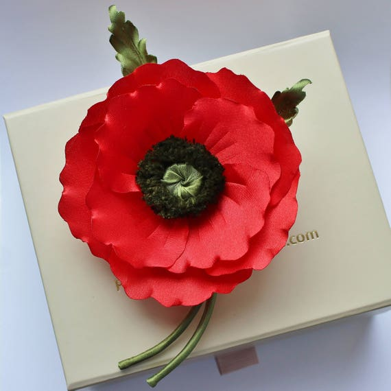 Fabric Flower Veterans Day Fabric Poppy Poppy Corsage Etsy