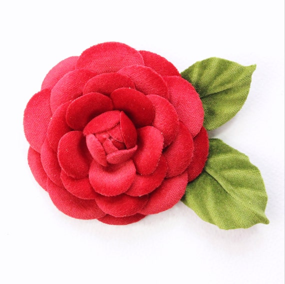 fabric camellia Red velvet camellia flower brooch cotton anniversary gift for her fabric flower cotton jewelry