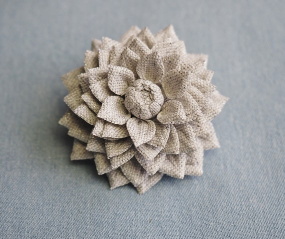 silver cotton dahlia brooch pin silver flower SILVER COTTON BROOCH textile flower pin silver fabric jewellery metallic fabric corsage