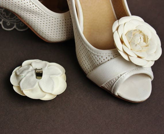 White Roses Flowers Shoe Clips leather