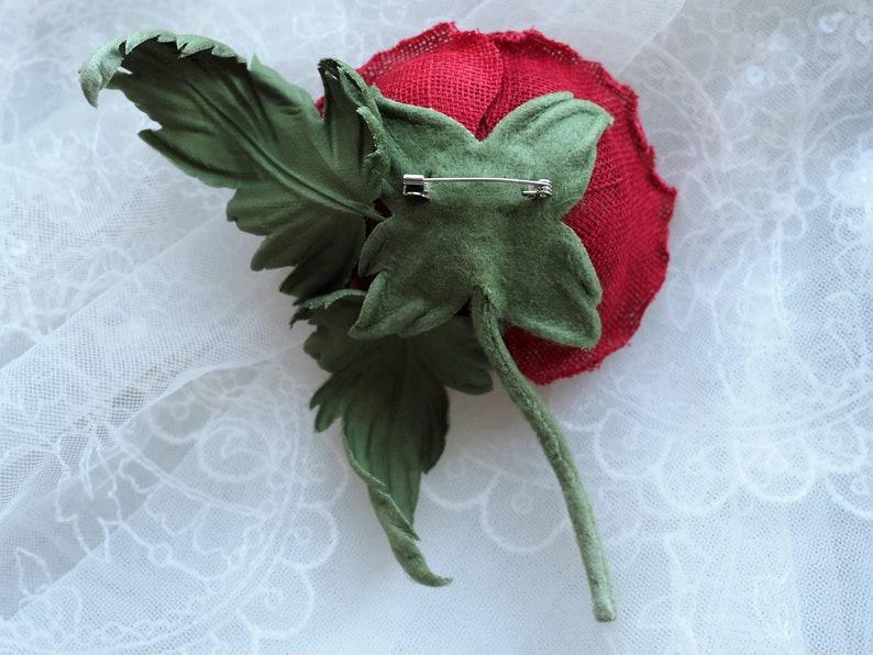 poppy flower jewellery hand dyed linen poppy RED POPPY CORSAGE red wild poppy fabric poppy flower linen poppy brooch poppy gift