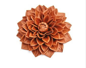 Leather flower, leather jewelry, cognac brown leather dahlia brooch, leather wedding anniversary, tan leather