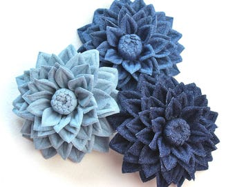 Cotton wedding gift, denim jewelry, cotton flower, denim flower, cotton gift, dahlia flower, cotton brooch gift for her