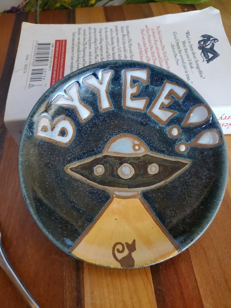 Alien Cat Abduction Trinket Plate