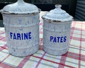 Vintage french enamel storage containers Flour Pasta Tea coffee jars pots
