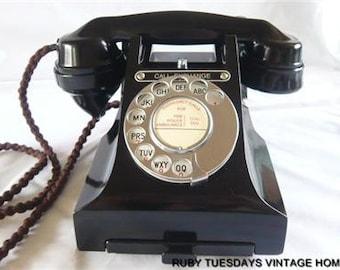 Vintage GPO Black Bakelite Telephone Call Exchange retro antique dial phone