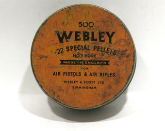 Vintage Webley Pellets Tin-500 Special Air Pellets -Round Orange Tin- Air Guns Pistols Rifles-Webley Scott Ltd Birmingham