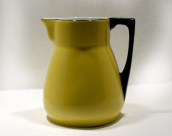 Vintage German ZPF Pottery Pitcher - Mid-Century Saxony Porcelain Pitcher -Small Porcelain Pitcher - Decorative Mod Pitcher - Canary Yellow