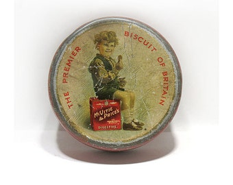 Antique Shortbread Sample Size Cookie Advertising Tin - McVite & Price's Biscuit Tin - The Premier Biscuit of Britain - Circa 1930's