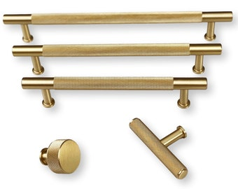 """Solid Satin Brass """"Texture No. 2"""" Knurled Drawer Pulls and Knobs - Forge Hardware T-Bar Round Drawer Handles"""
