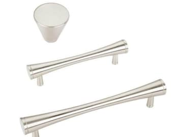 """Brushed Nickel Drawer Pulls """"MCM"""" Mid-Century Modern Pulls and Knob - Kitchen Knobs and Cabinet Handles"""