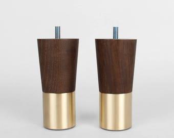 Set Of 2 Brass Replacement Furniture Legs Mid Century Modern Walnut