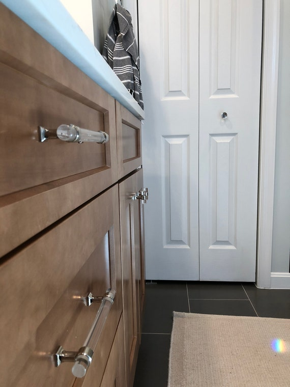 Lucite and Polished Nickel 5-1/16 Modern Cabinet Pull