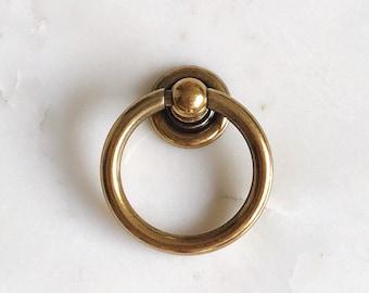 """Plain Brass Ring """"Capri"""" Pulls Hardware Cabinet Pull Drawer Pull"""