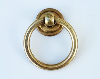 """Round Ring Pull """"Soho"""" Cabinet Knob in Aged Brass - Brass Cabinet Hardware"""