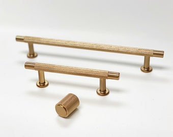"""Champagne Bronze """"Knurled"""" Drawer Pulls and Knobs, Diamond Texture Cabinet Hardware"""