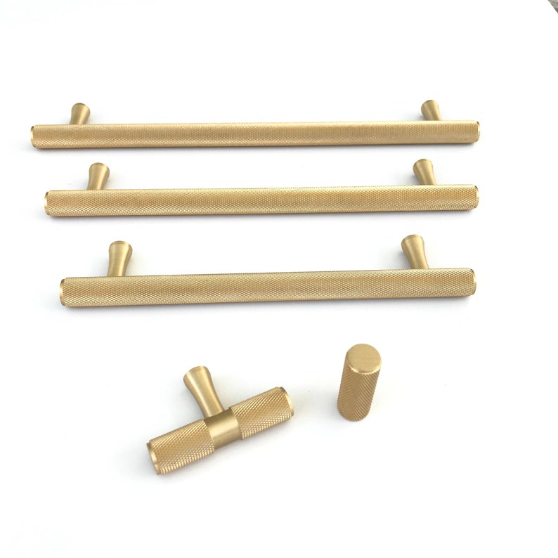 Solid Satin Brass Texture Knurled Drawer Pulls and image 1