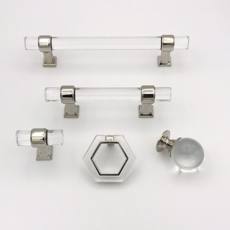 Lucite And Polished Nickel Modern Cabinet Pulls And Knobs   Acrylic Drawer  Hardware