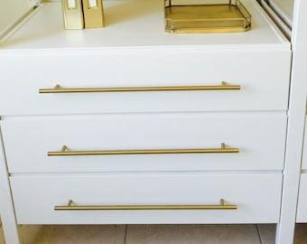 "16-3/8""  T-Bar Drawer Pull Brass - Round Drawer Handles"