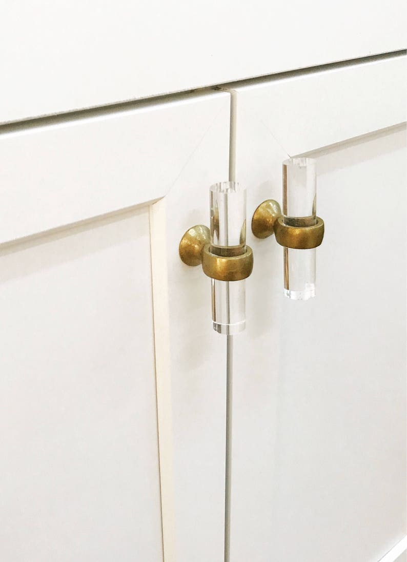 Beau Lucite Brass Cabinet Knobs  Brass Hardware, Gold Drawer Pulls, Lucite  Knobs, Lucite Drawer Knobs, Glass Knobs, Gold Knobs