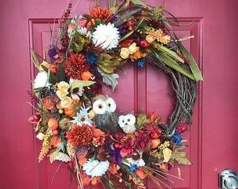 Harvest Wreath - Owl Wreath - Custom Made