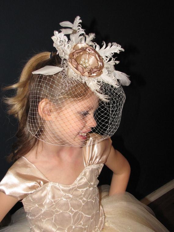 Vintage flower girl headpiece Feather flower girl headpiece  c69ee9ff0a1