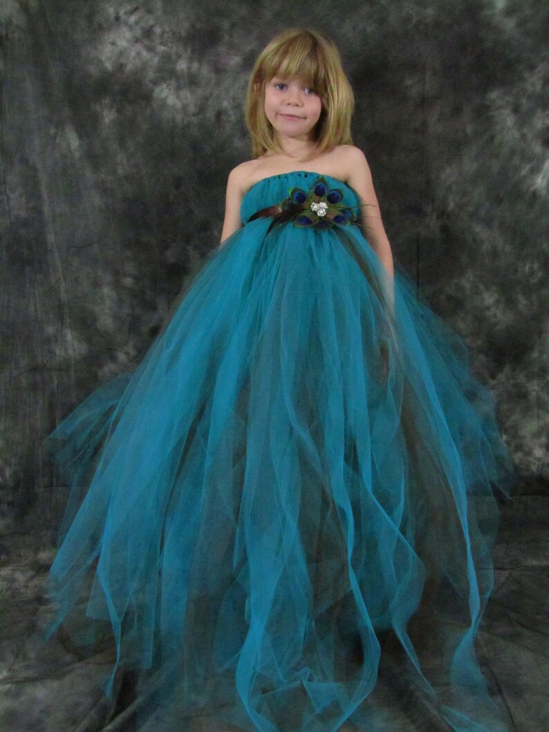 f2bd83be2 Peacock Tulle Girls dress | Etsy