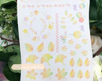 Japan Fall Clear Sticker Sheet | Planner Décor | Cute and Kawaii | Gift & Accessories